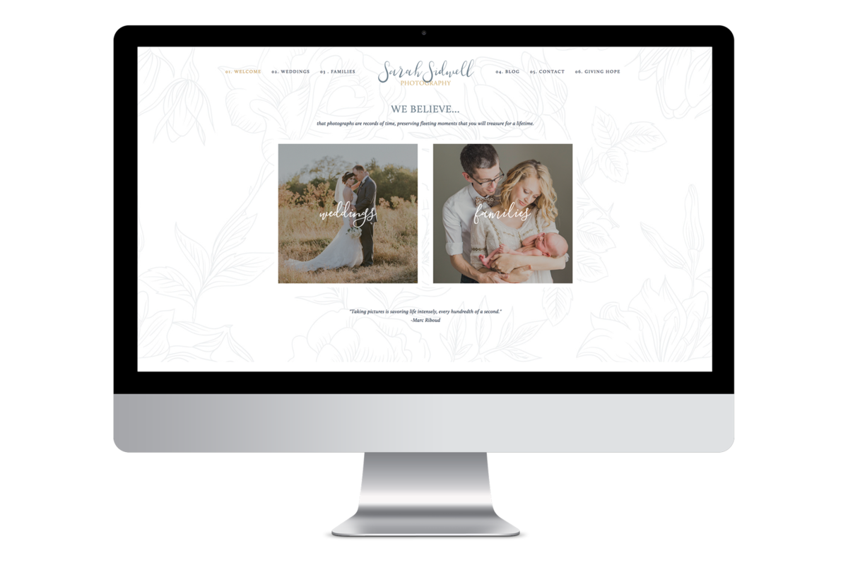 Alyssa Joy & Co. Brand & Web Designer for Creatives & Small Businesses || Sarah Sidwell Photography, Wedding Photographer Squarespace Website