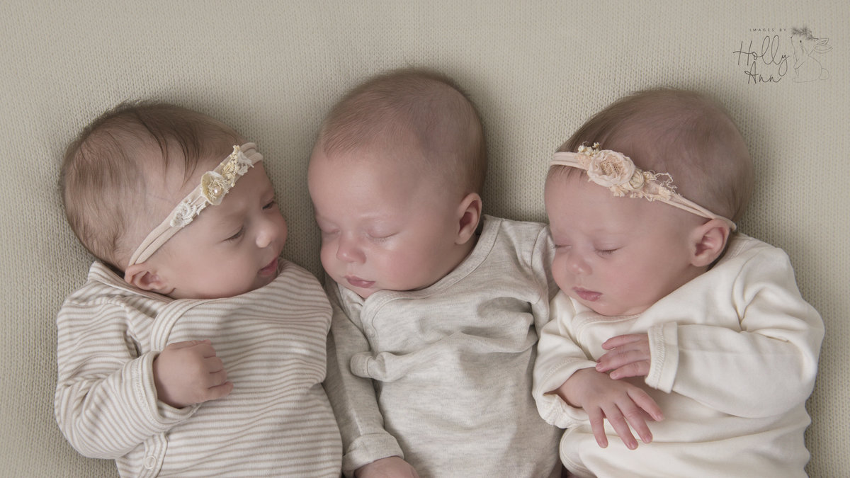 3 month old triplets in home portrait session