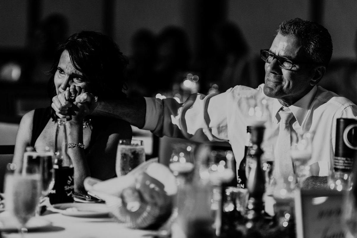 Mom and Dad cry tears of joy during the speeches at a wedding reception