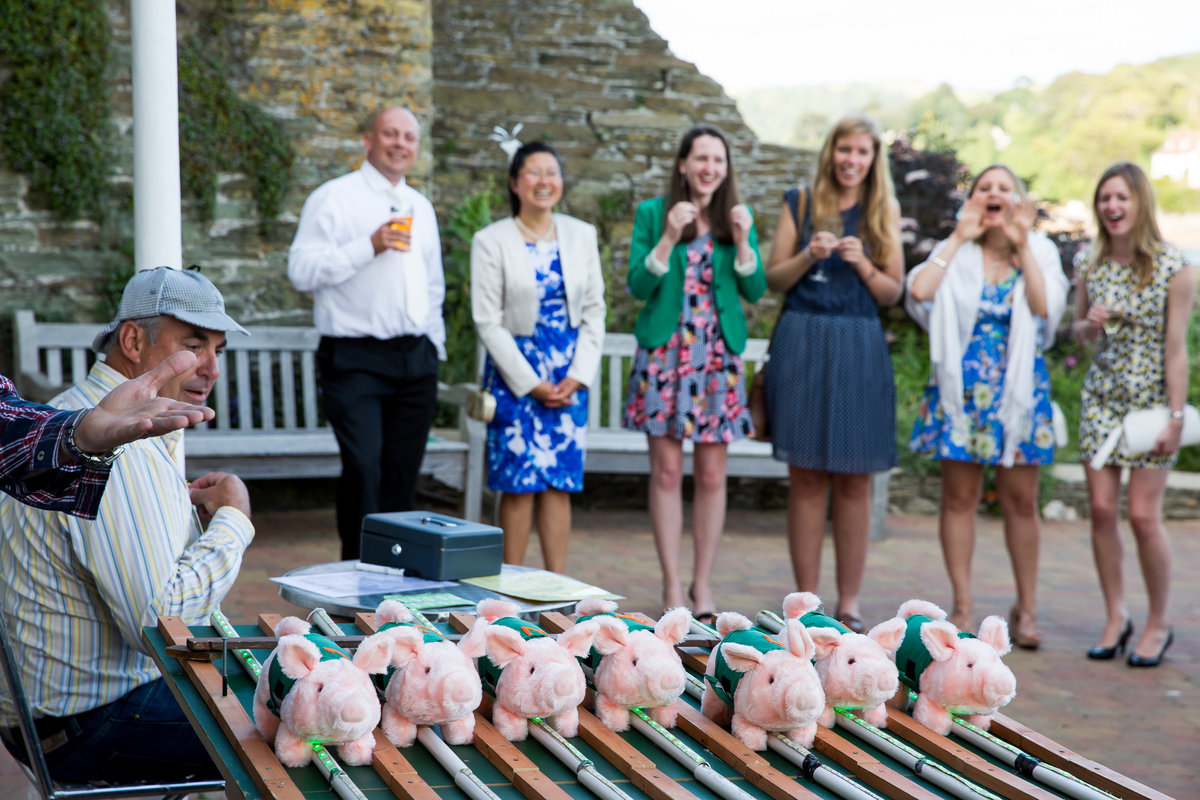 pig racing at wedding in salcombe devon