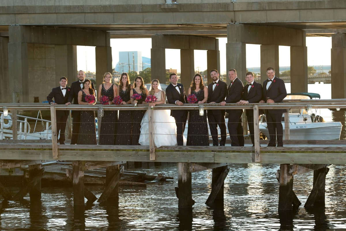 Bridgeview Yacht Club dock bridal party photo