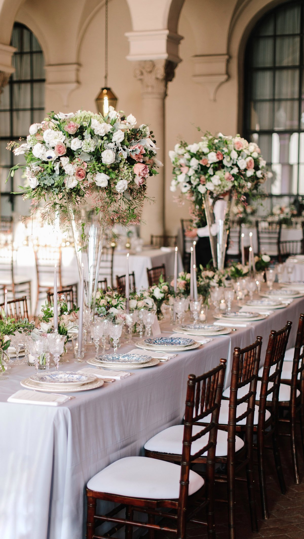 Reception for wedding by Jenny Schneider Events at The Anthenaeum in Pasadena, California. Photo by Heather Kincaid Photography.