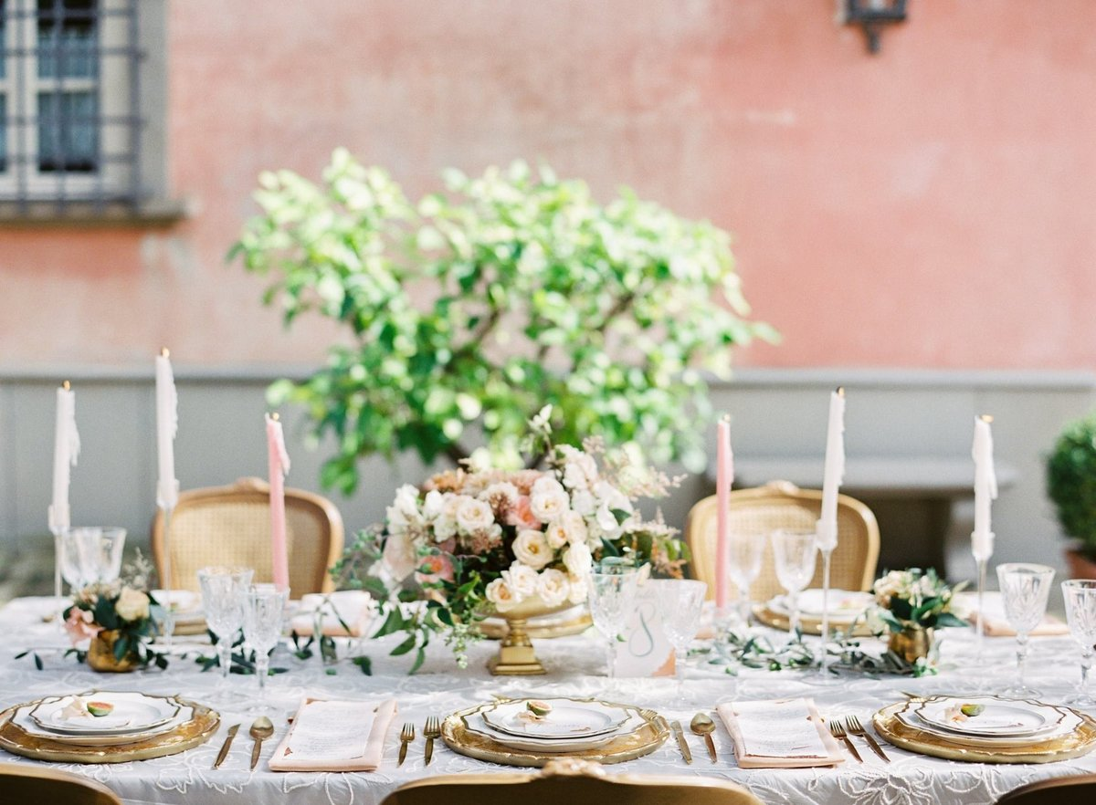 Vintage Style Tuscany Wedding Tablescape with Cane Chairs