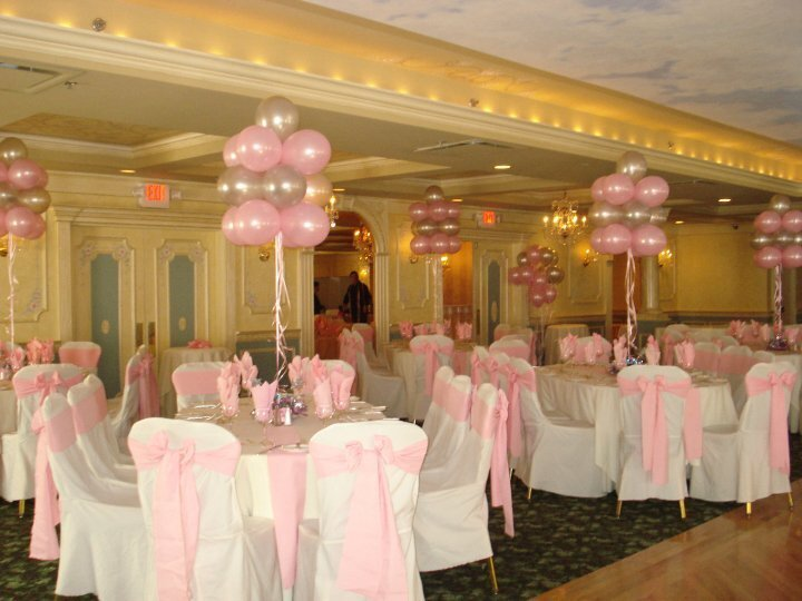 pink and white balloon cluster