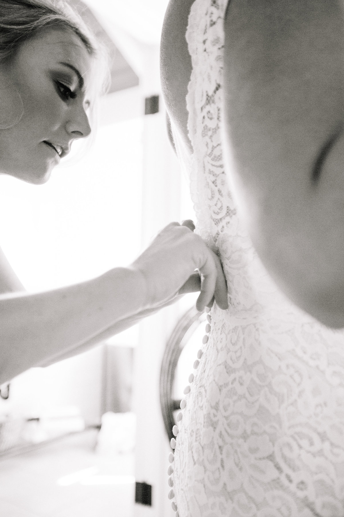 Bride getting ready for her wedding at Beltane Ranch in Sonoma.