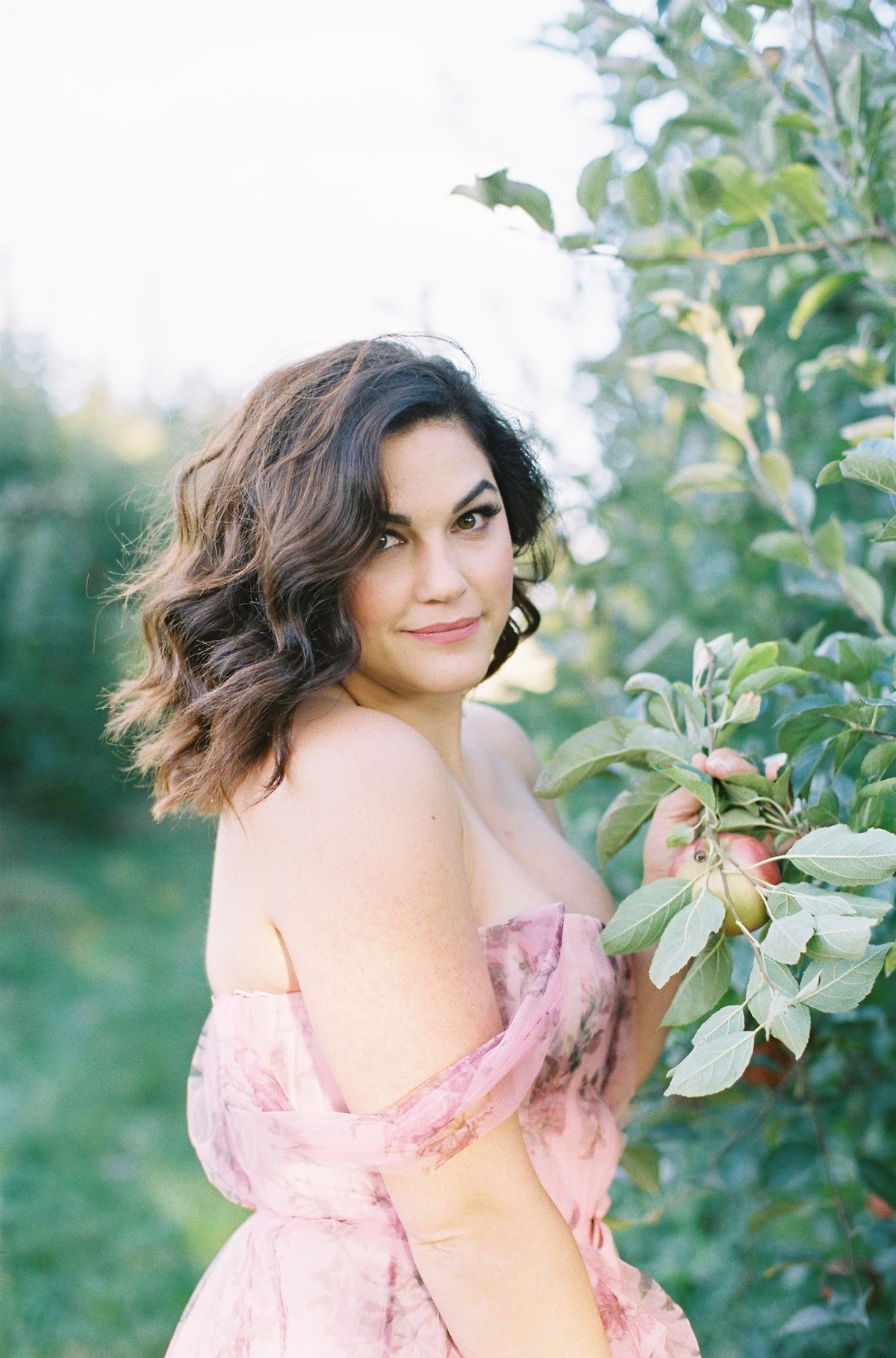 Engagement Photography session portrait of a dark haired woman in an apple field gauzy dress Marchesa Notte Soergel's Orchard | Pittsburgh Wedding Photographer | Anna Laero