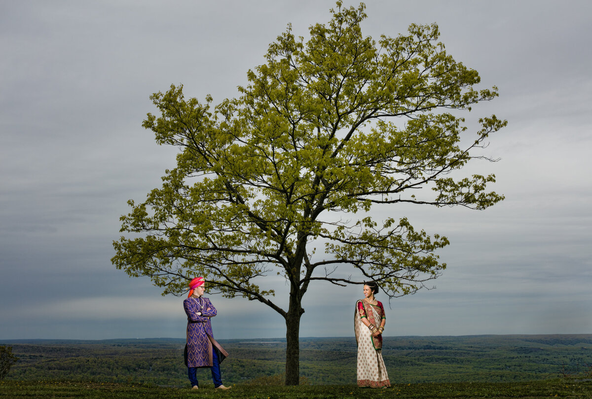 South Asian bride and groom on their wedding day in the Poconos