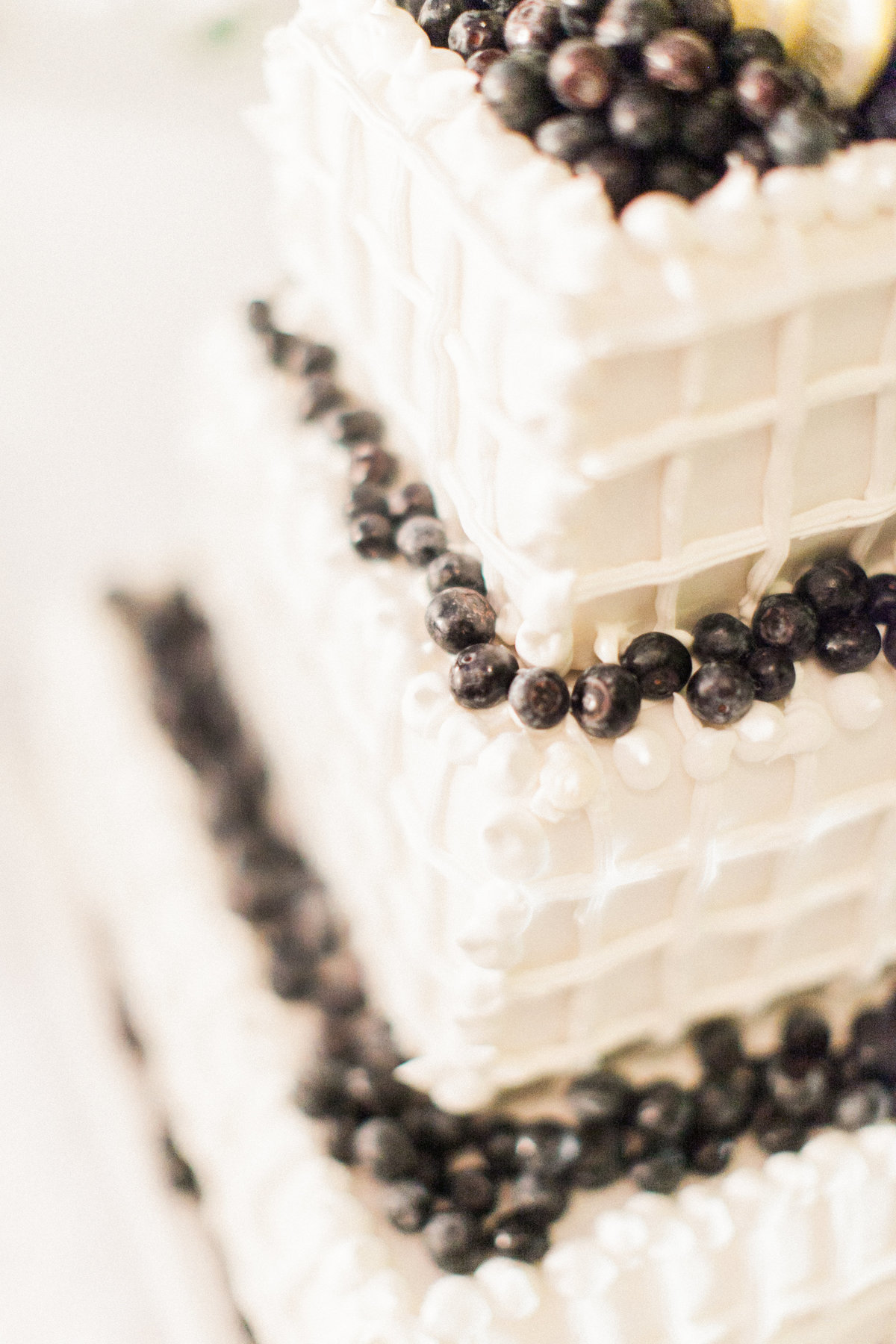Three Tier Blueberry Wedding Cake