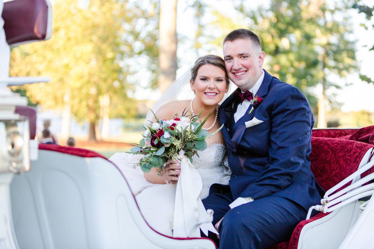 Bride and groom in horse carriage