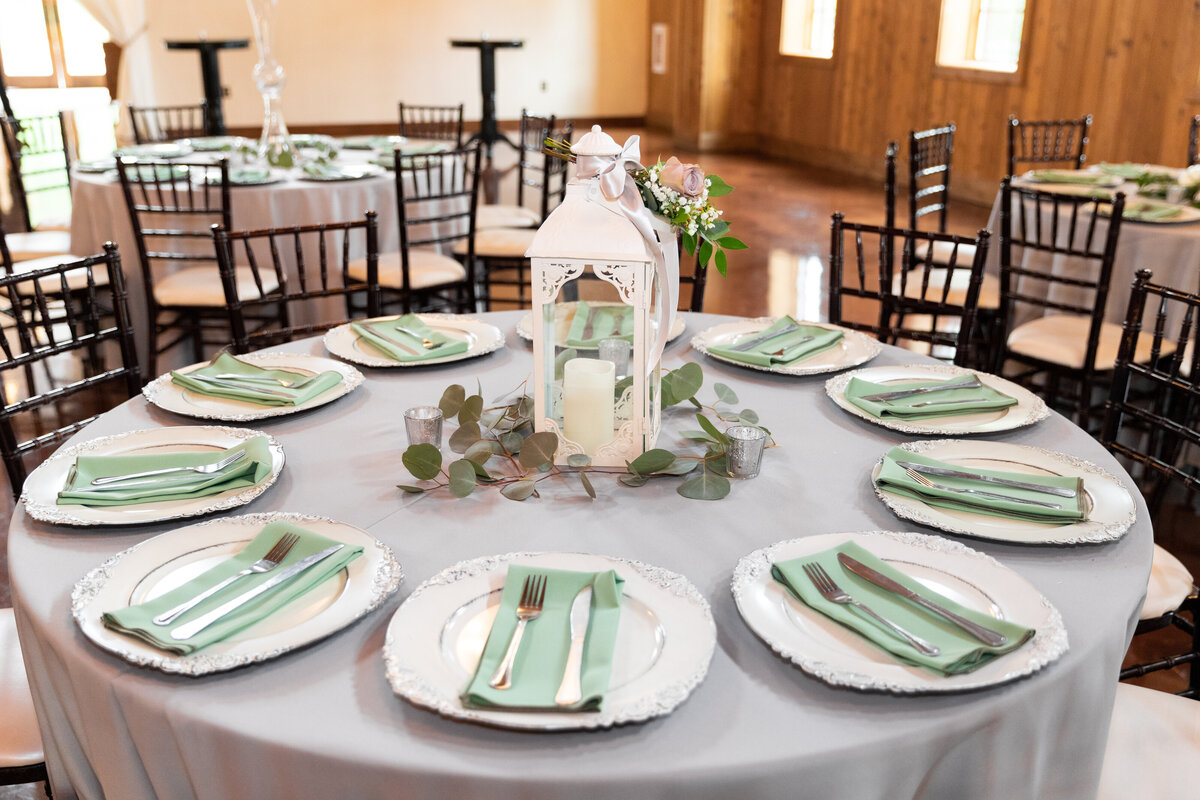 Rustic Green and Gray Reception Decor at the Carriage House