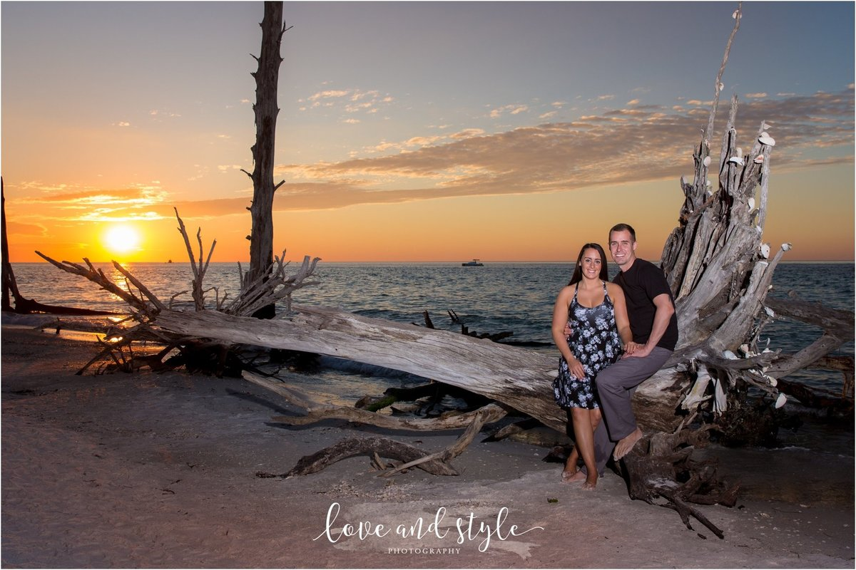 Bradenton Engagement Photography on Beer Can Island at sunset