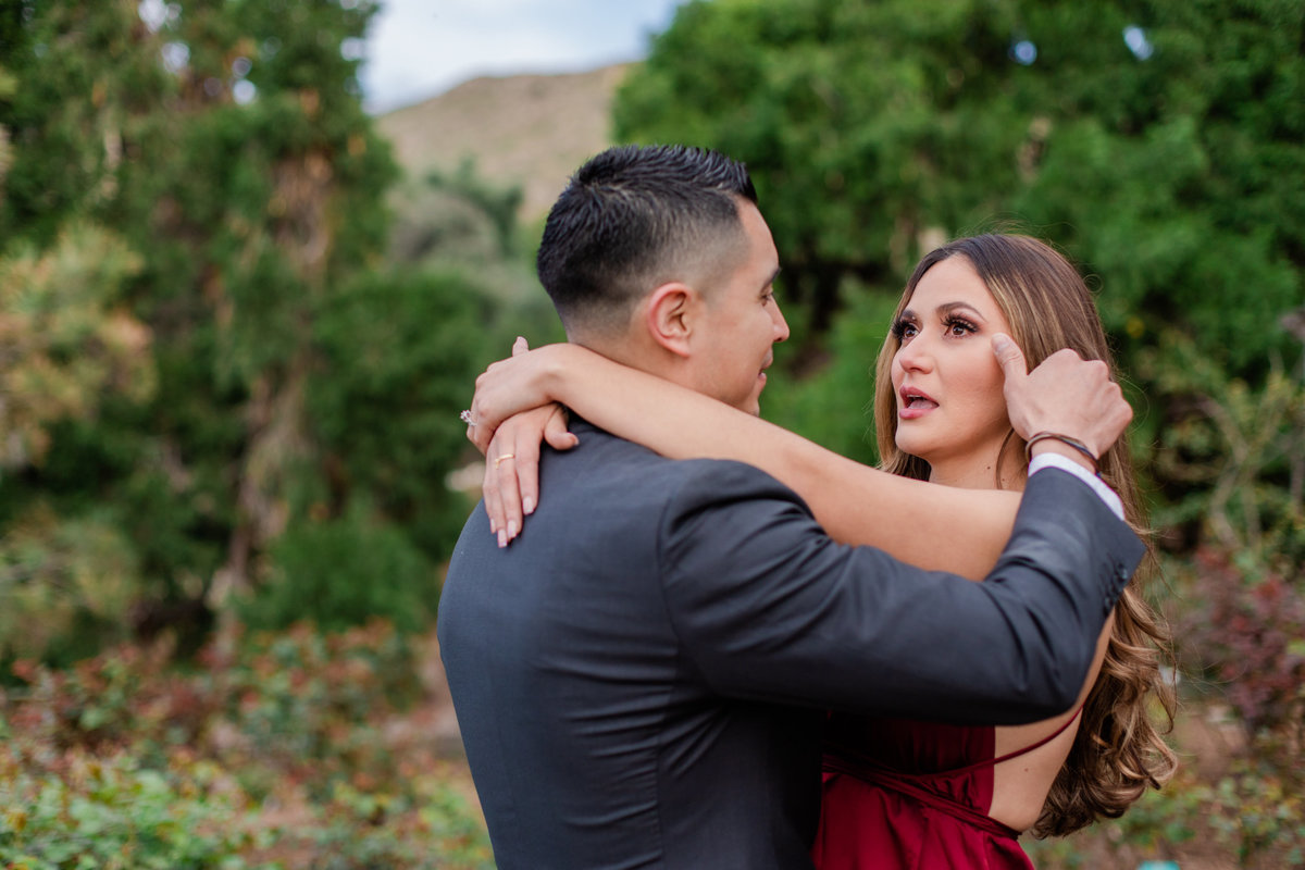 UC Riverside Botanical Gardens, Engagement Photography, Riverside Phototgrapher, Garden Engagement, Couple Photography, Red Dress-83