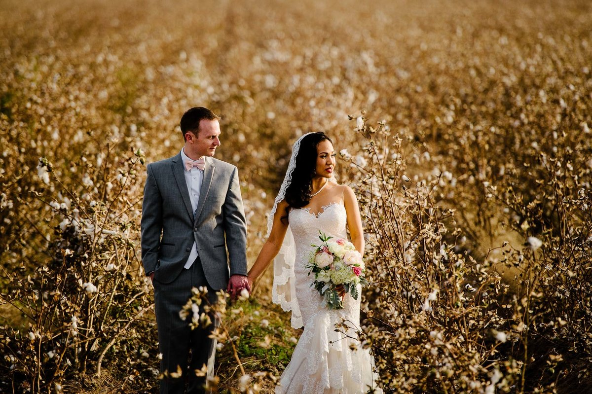 wedding portrait in cotton field by grace gardens