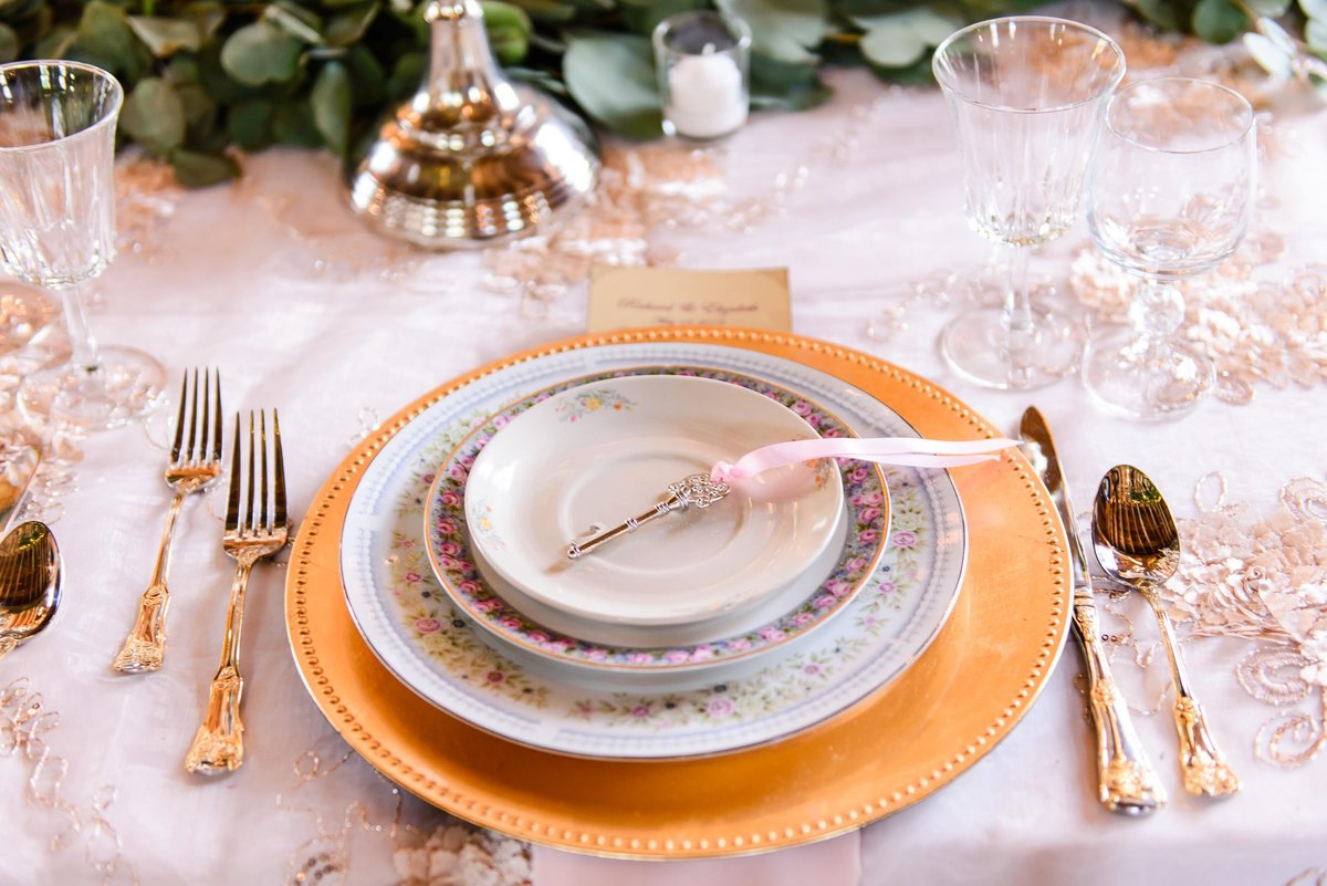 pink and gold wedding china for reception