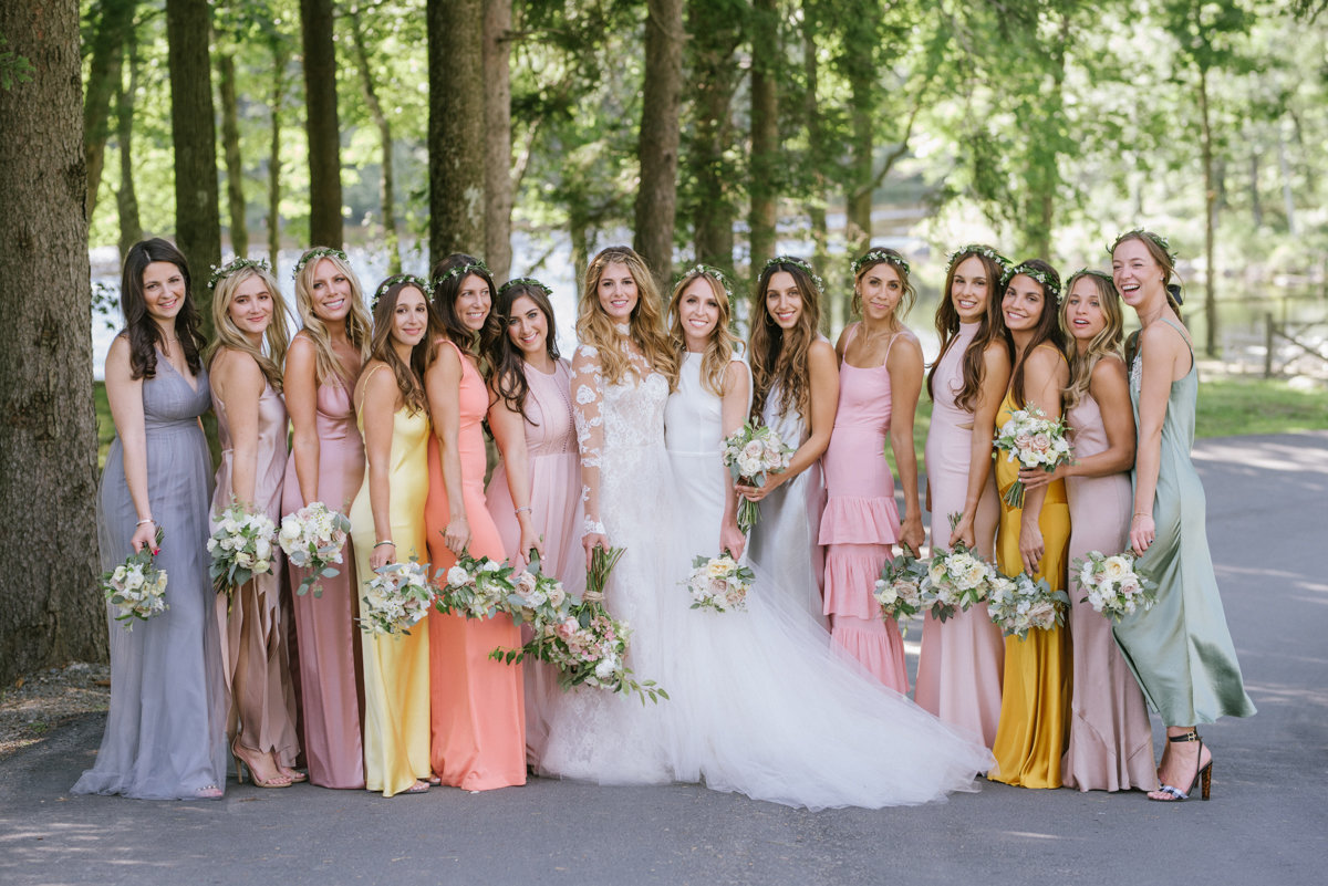 Multicolored boho bridesmaid dresses