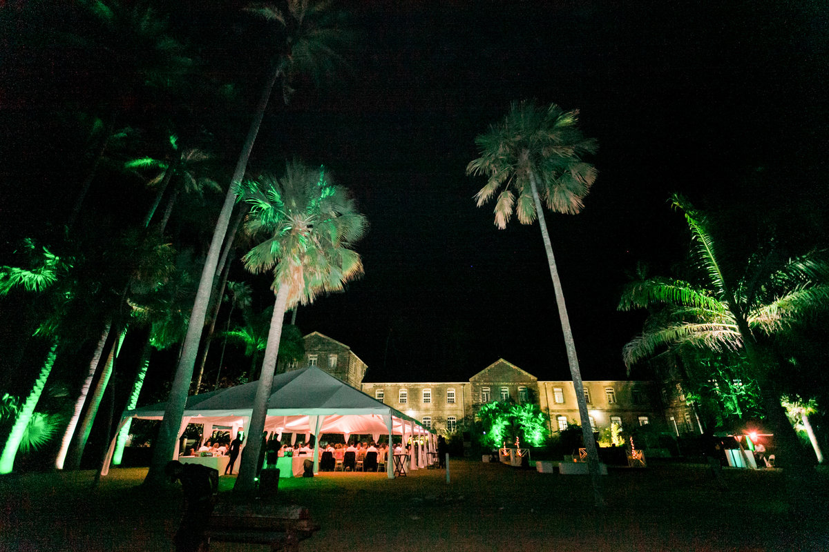 Tented evening wedding reception in Barbados
