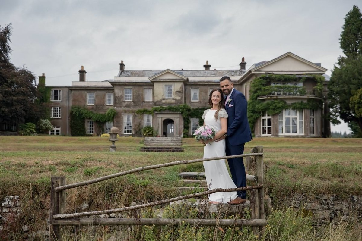 Bride and Groom in front of Buckland House Wedding in Devon