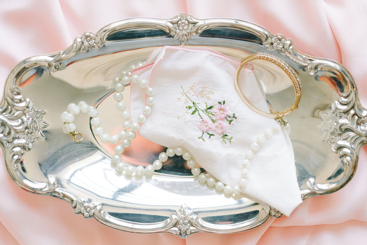 Brides Accessories Pearl Necklace and Heirloom Handkerchief on Silver Platter