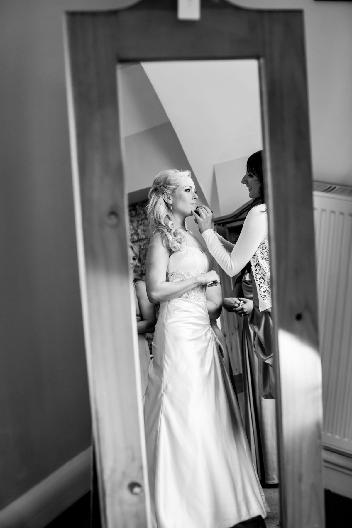 st audries park somerset wedding bride in mirror