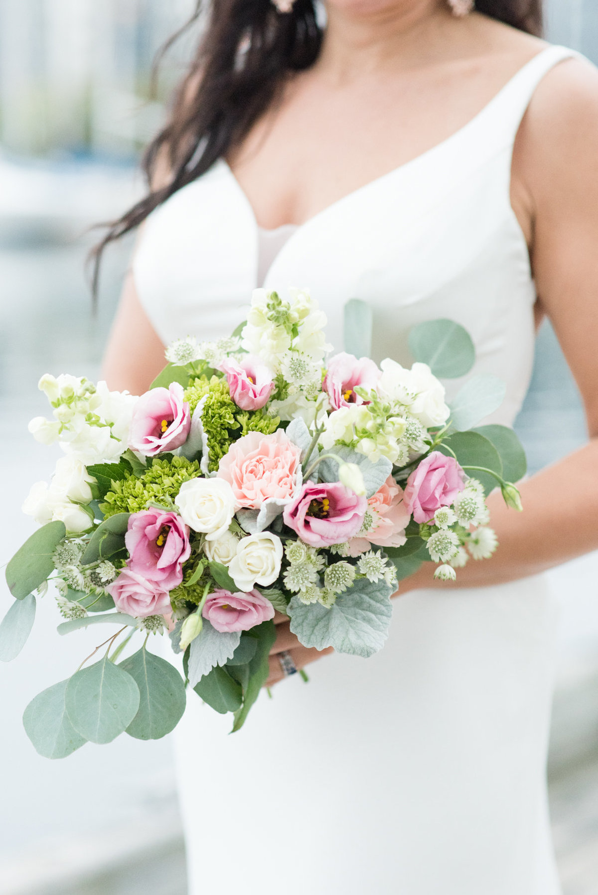 A beautiful lisianthus and carnation bouquet from Thuja Floral Design