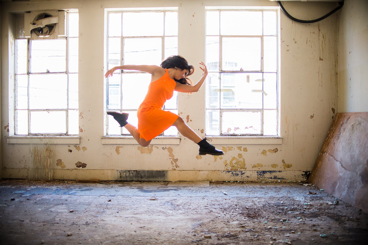 Senior Session Dancer in vacant building
