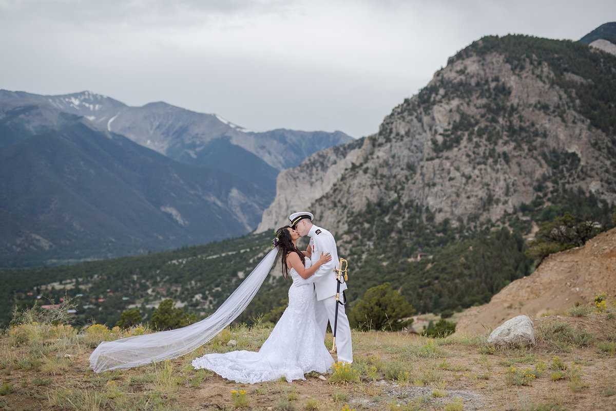bride and military groom in Mount Princeton
