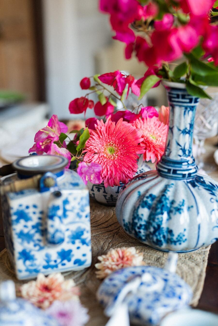 Bougainvillea Centerpiece Blue and White Ginger Jars Indian Wedding Photographer Bonnie Sen Photography