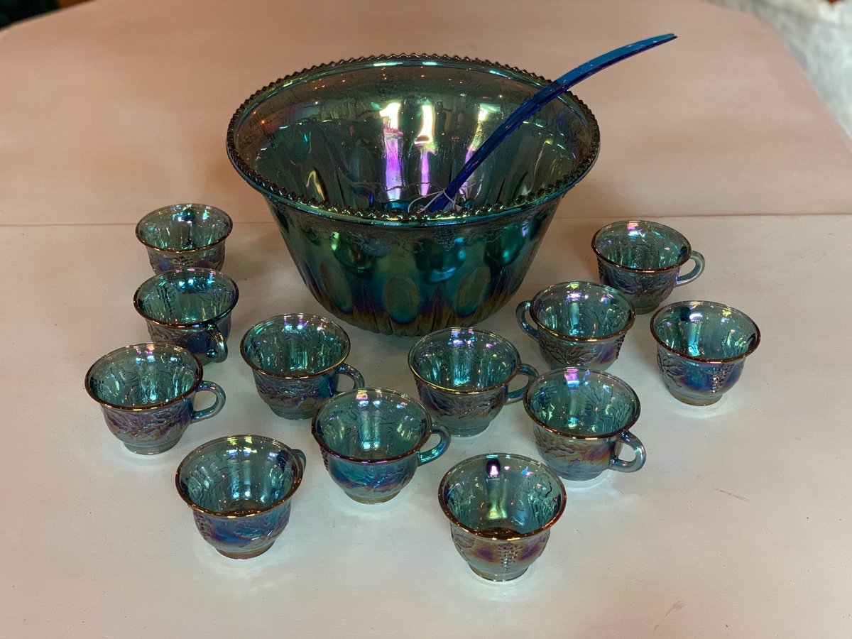 blue glass punch bowl
