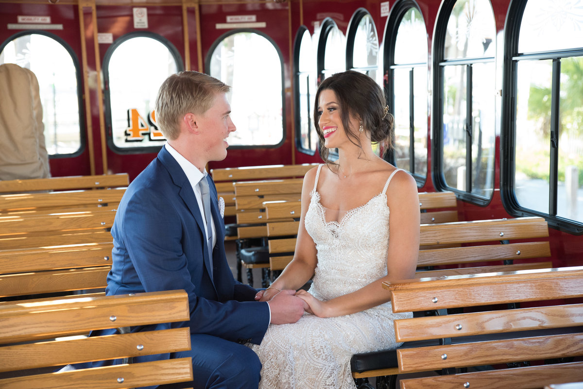 wedding couple on the jolley trolley in clearwater florida