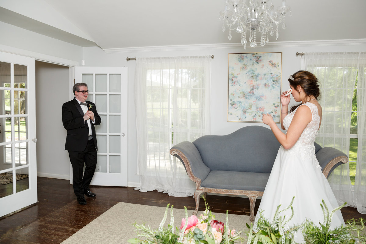 Austin wedding photographer addison grove wedding photographer bride first look father