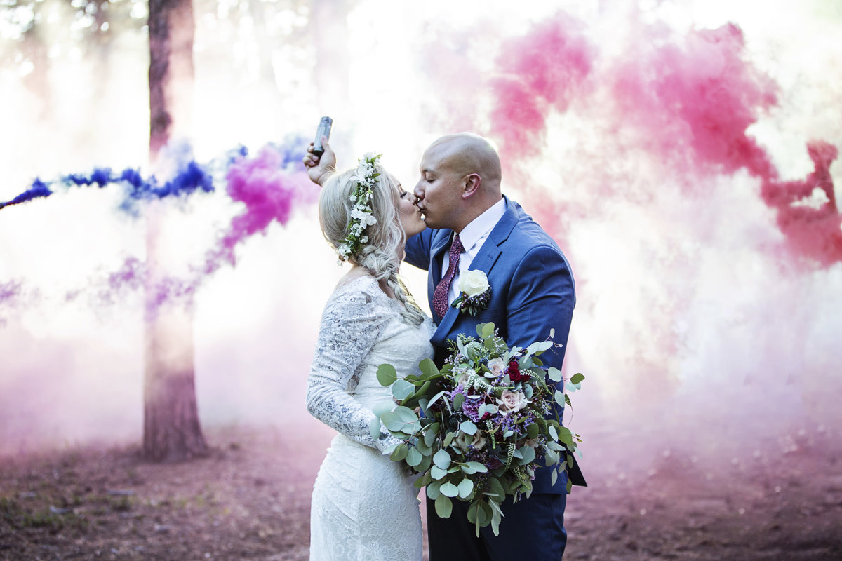 Smoke Bomb in forest wedding