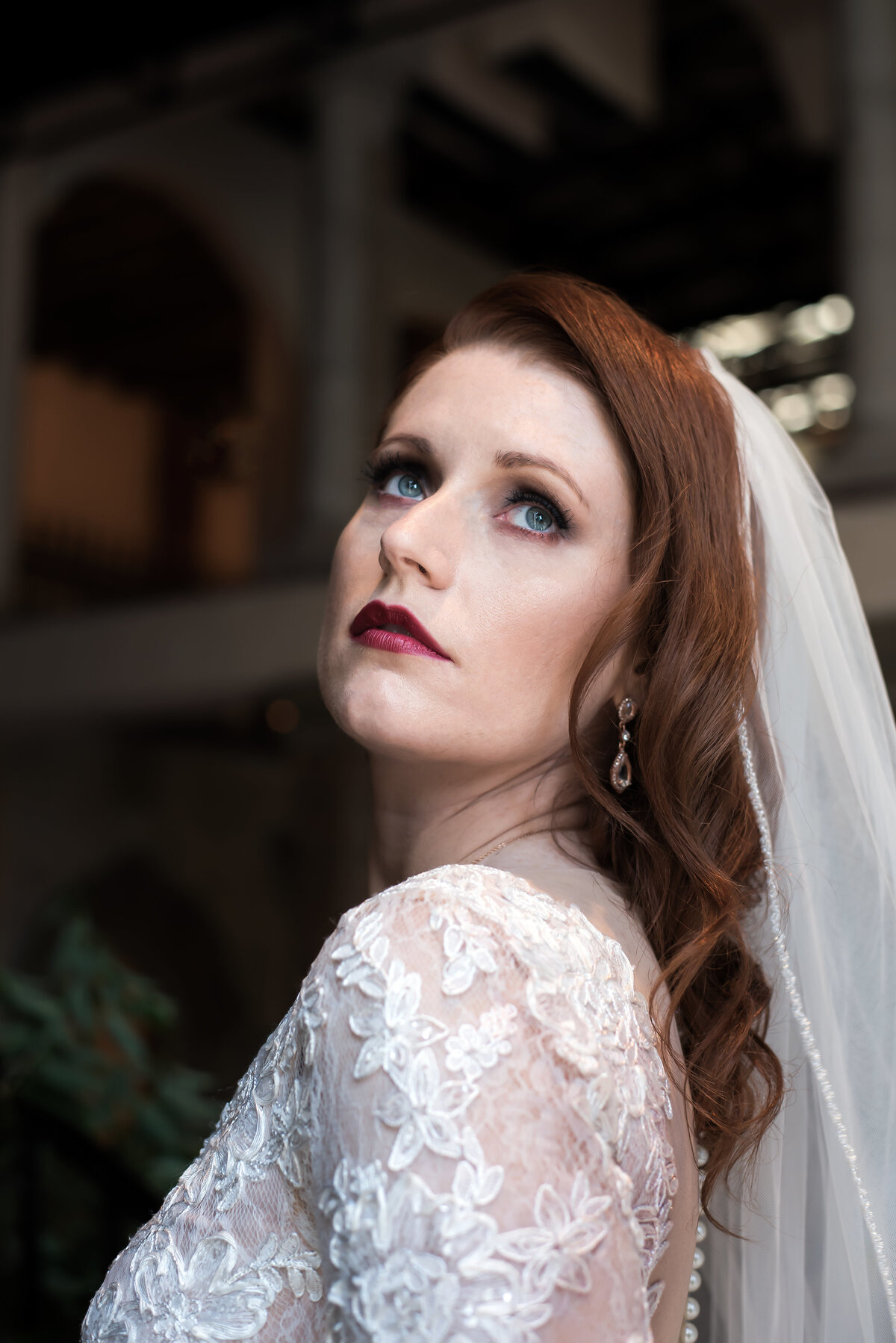 red haired bride with bold lip