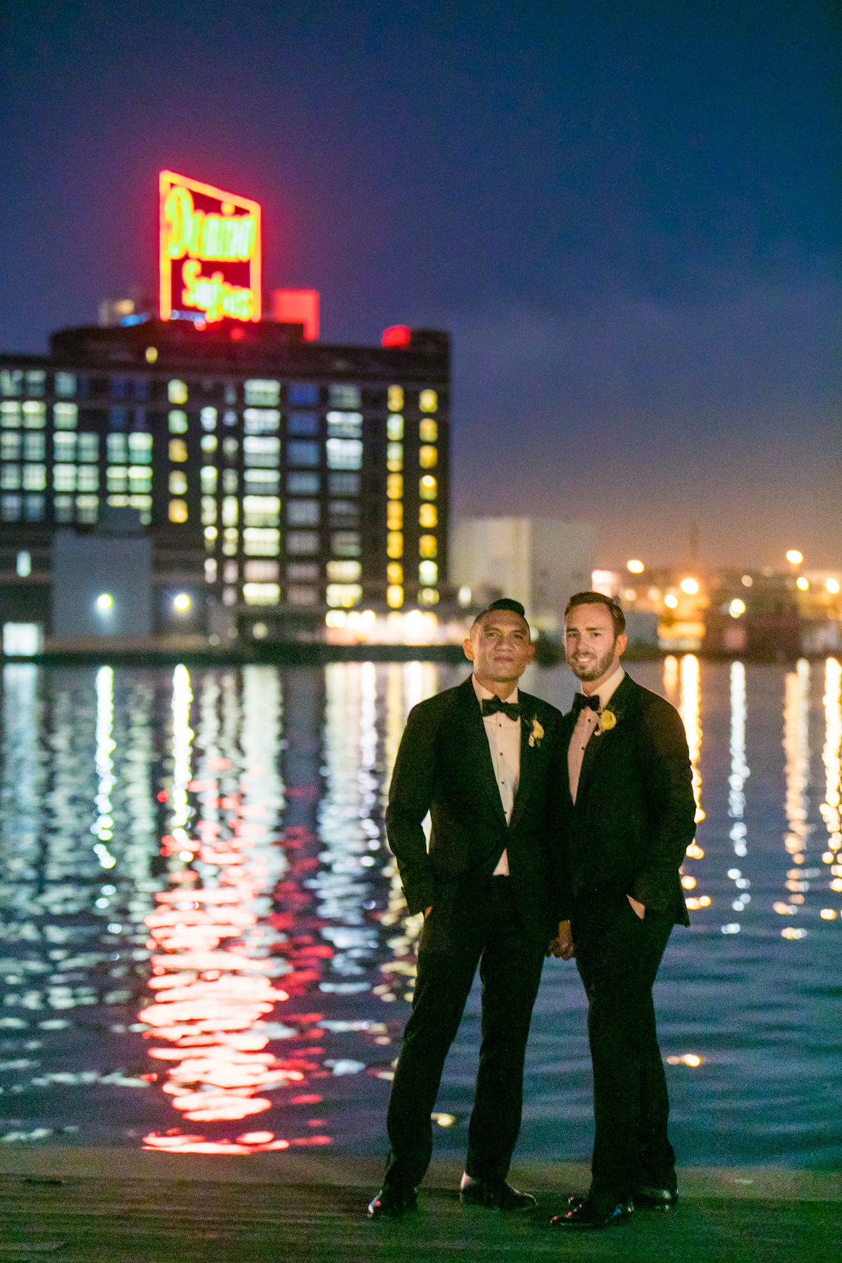 Gay Groom Domino Sugar Sign in Baltimore wedding