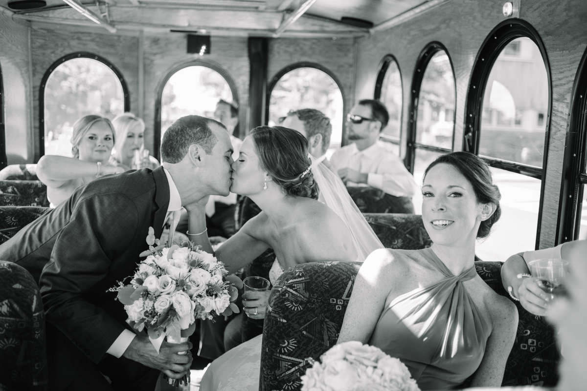 Bride and groom in trolley