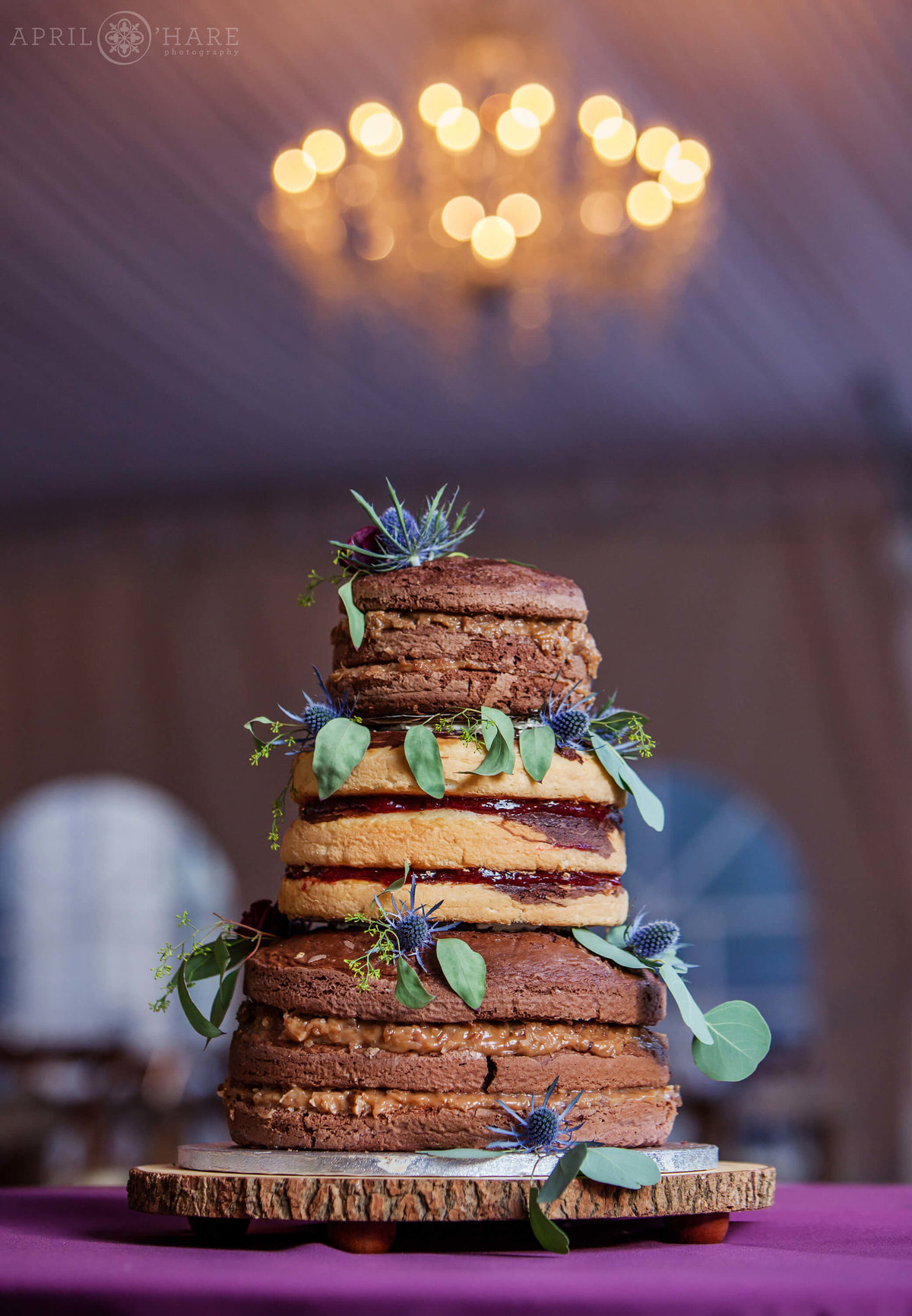 Cool Colorado Wedding Trend of Naked Cake at Wedgewood Weddings on Boulder Creek