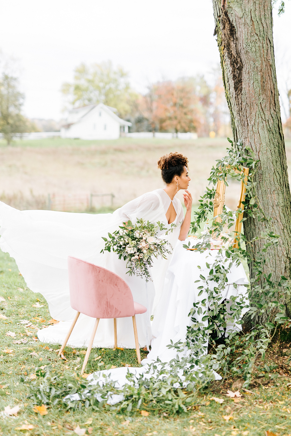 Lush Greenery Wedding Inspired Styled Shoot at Cornman Farms Bride Gazing Into Mirror