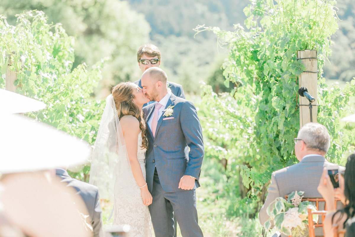 Vineyard Wedding First Kiss
