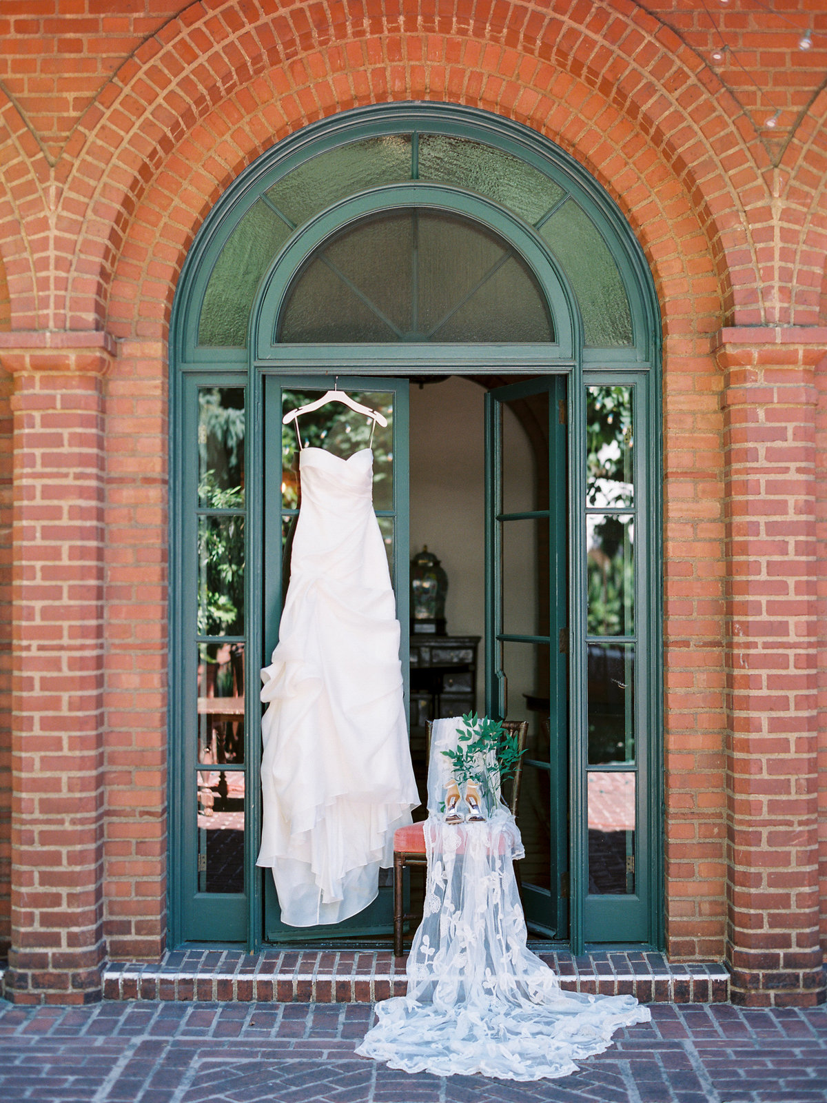 wedding dress hanging at the town club in portland, oregon