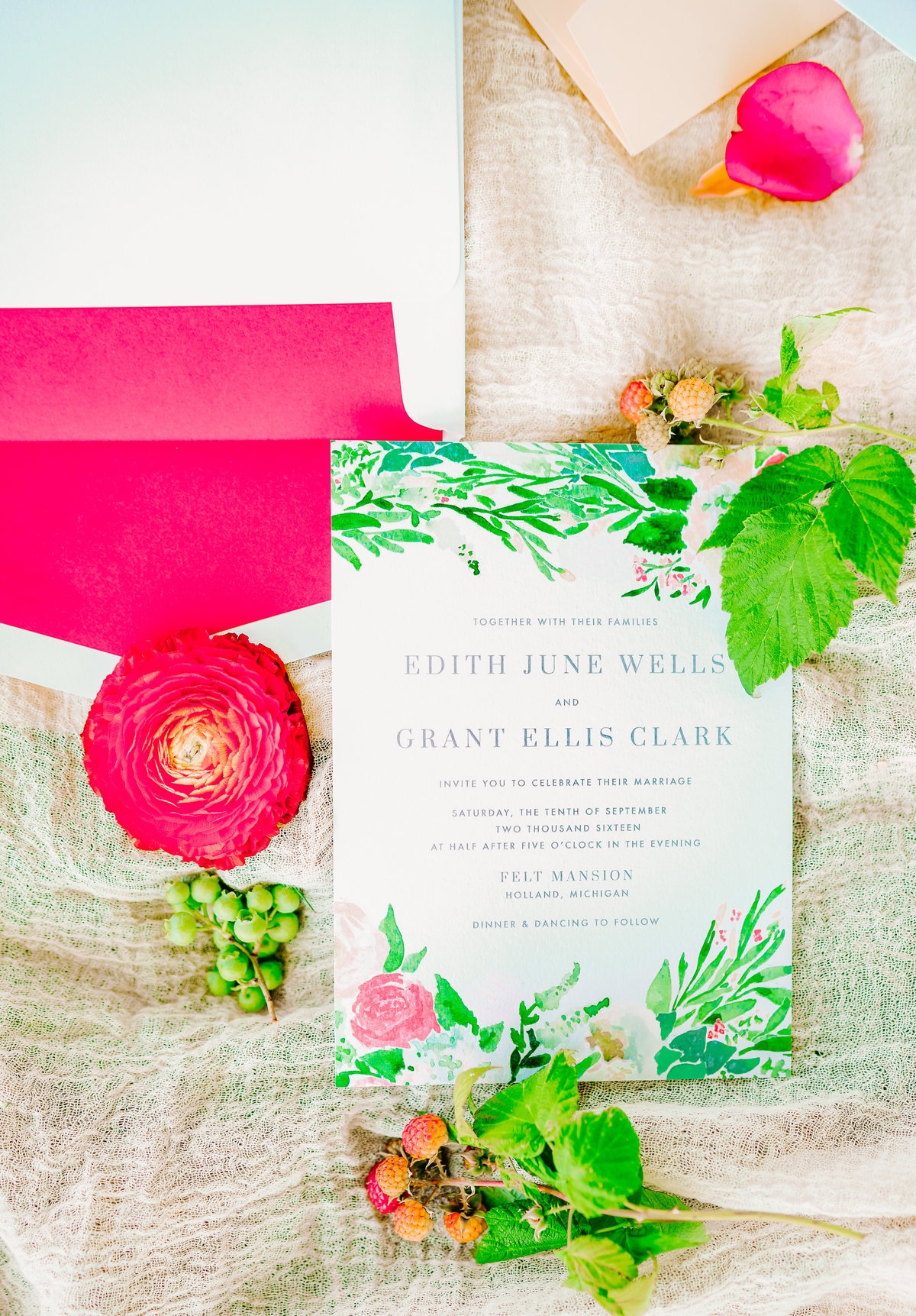 floral invitation suit felt mansion estate wedding