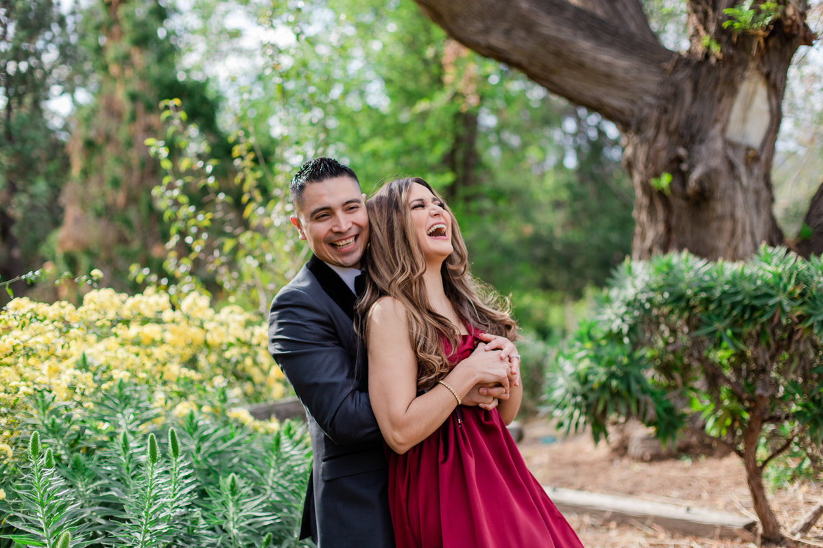 UC Riverside Botanical Gardens, Engagement Photography, Riverside Phototgrapher, Garden Engagement, Couple Photography, Red Dress-37