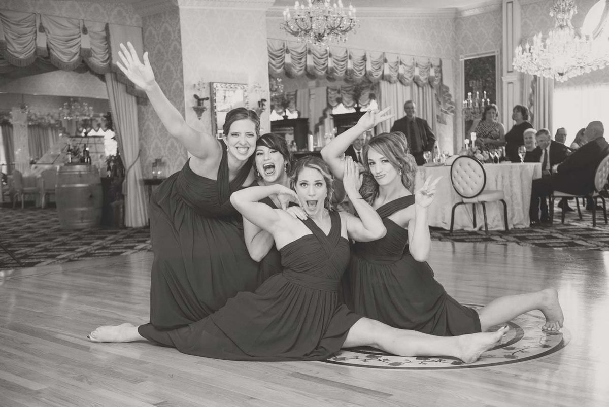 Funny photo of the bridesmaids at Giorgio's Baiting Hollow