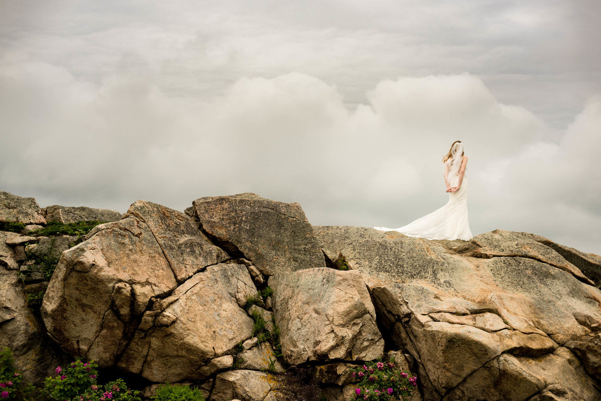 bride on a rock