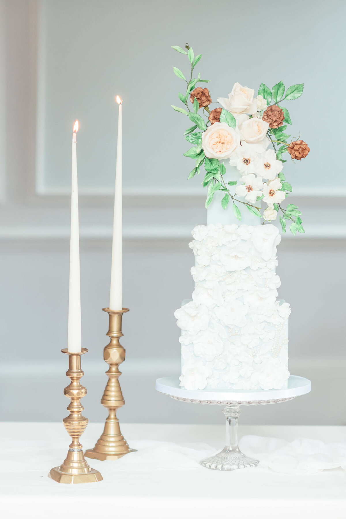 3 tier lace applique square floral wedding cake  | MonAnnie