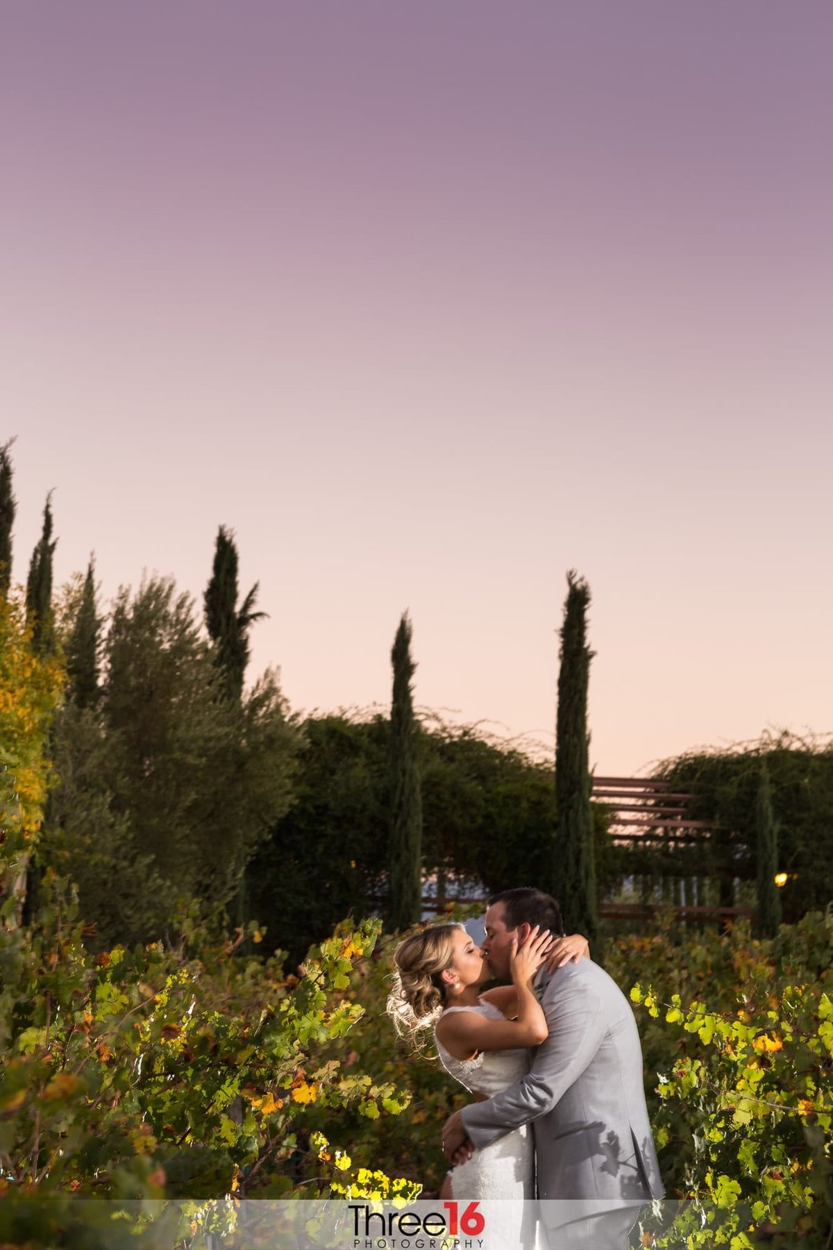 Bride and Groom kiss in the winery at Mount Palomar Winery