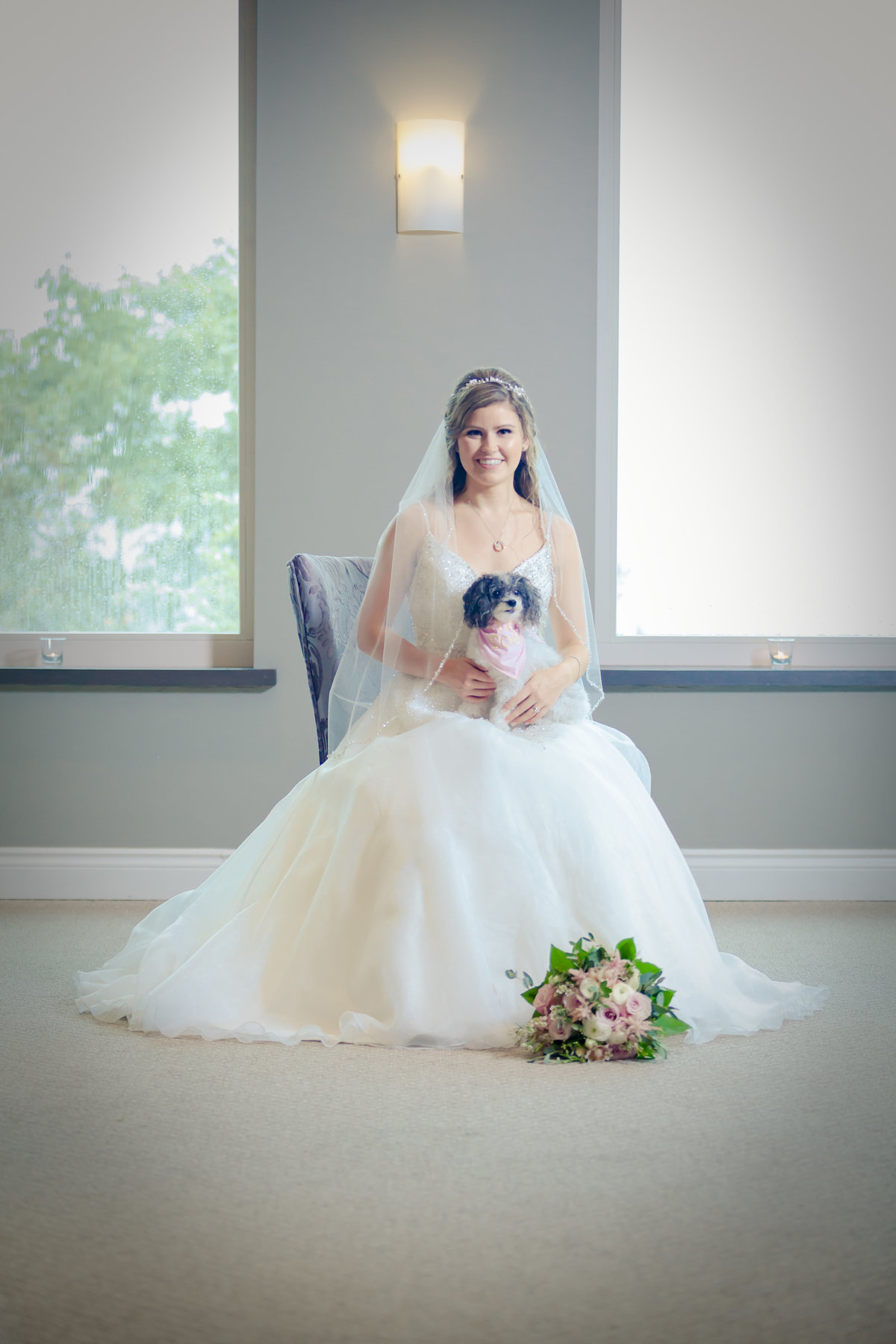 Bride with Dog Photo