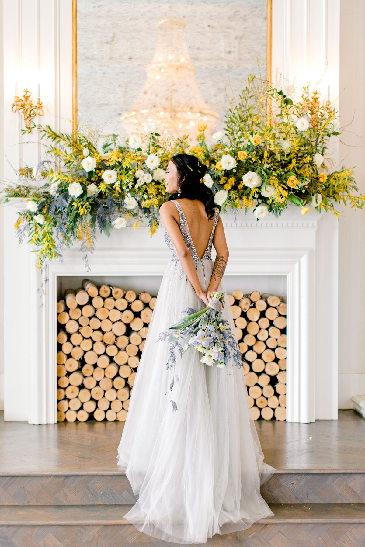 The Mason Dallas TX Nimbus Events  Modern Bride Gray Whimsical Flowers