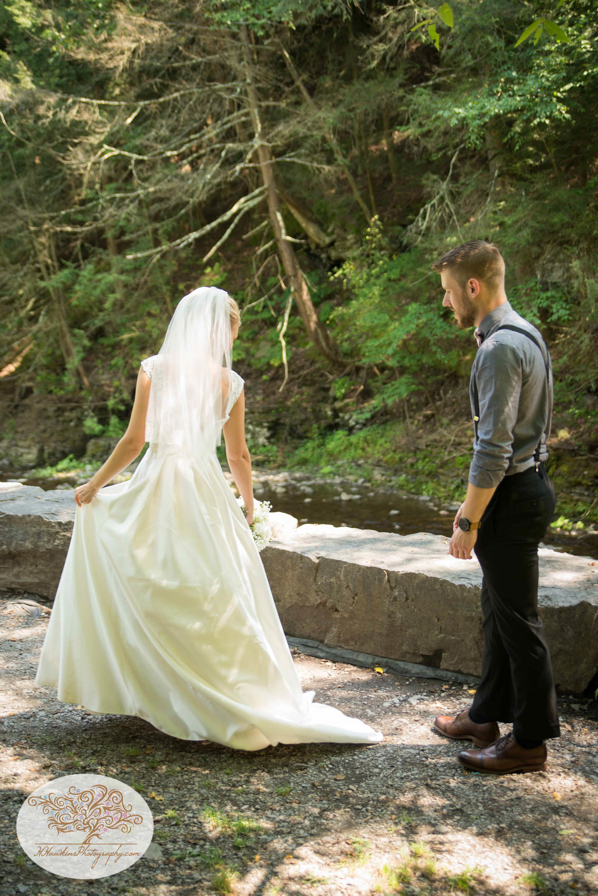 Robert Treman State Park Ithaca NY Wedding First Look1