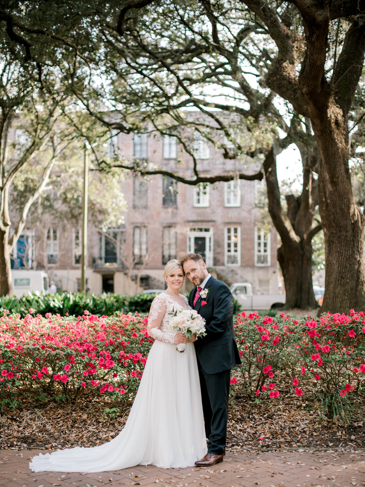 Bride and Groom Chatham Square Azaleas in bloom Spring