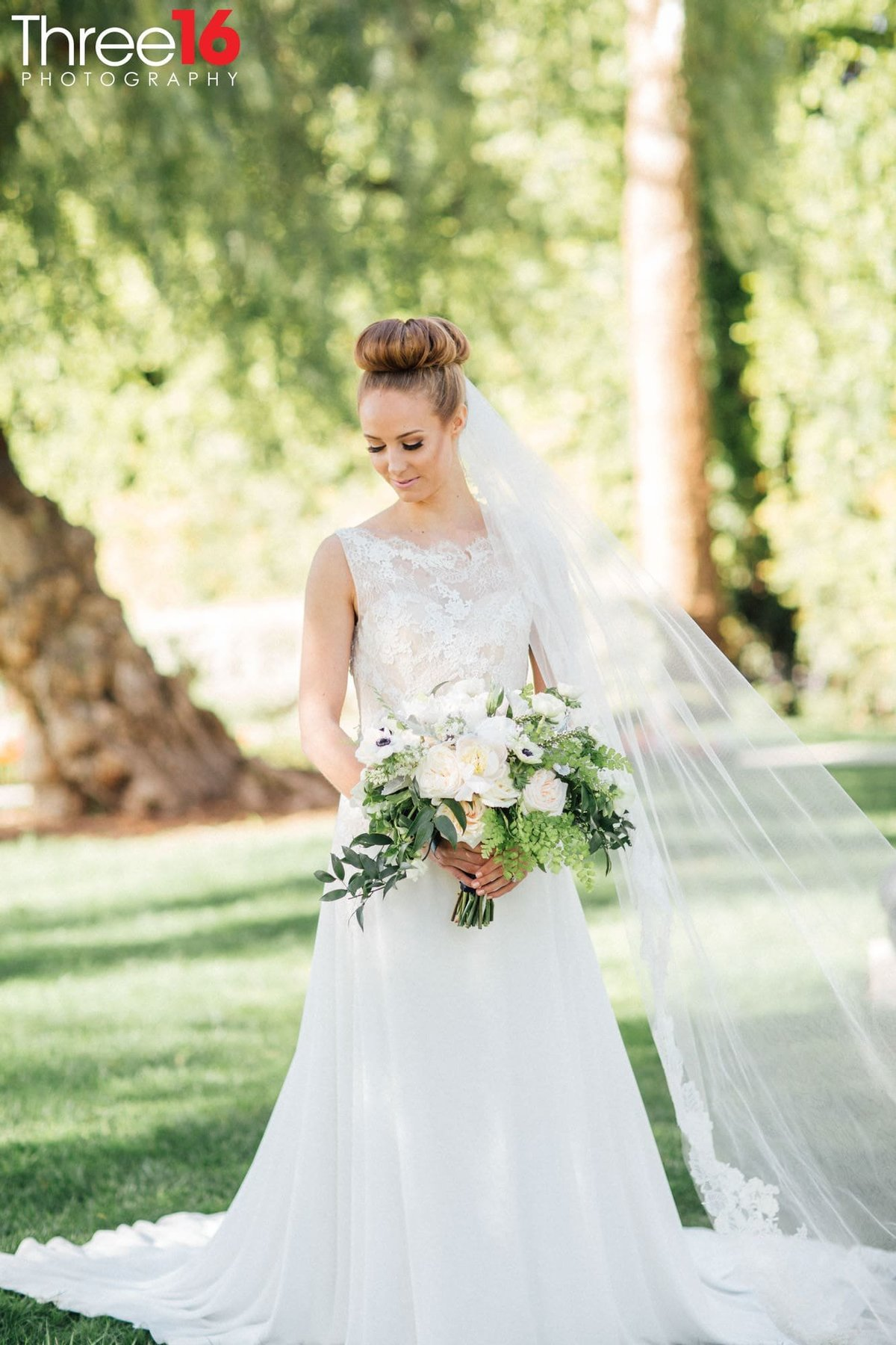 Beautiful Brides poses for the wedding photographer
