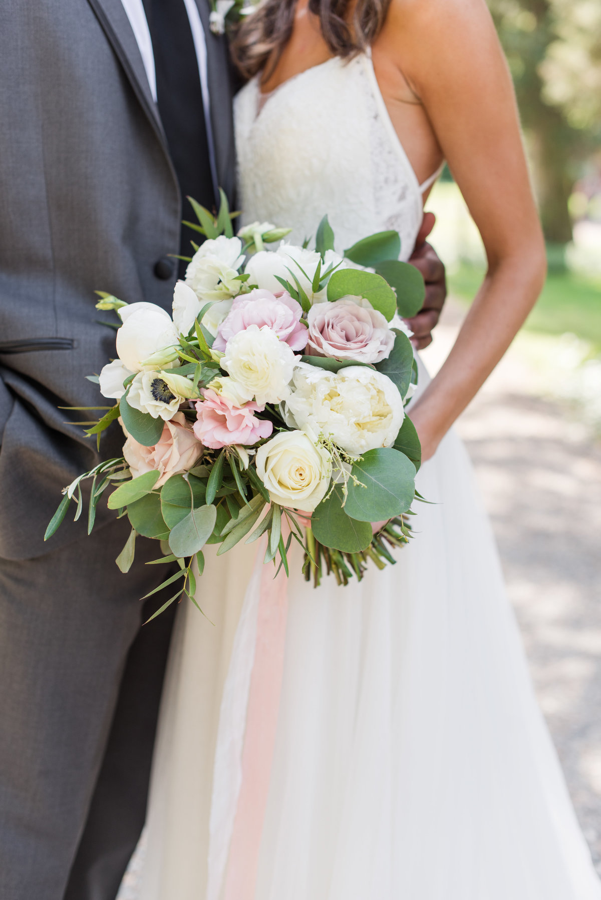 Detail of bouquet with garden roses